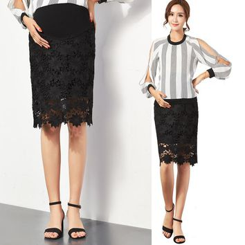2017 Black white Lace Maternity Belly Skirt Pregnant Women Casual Skirt Premama Office Lady Wear Costume Bottom Skirts Summer