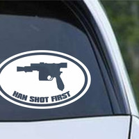 Star Wars - Han Shot First Euro Oval Die Cut Vinyl Decal Sticker