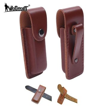 Hunting Tactical Folding Knife Sheath Cover Real Leather Outdoor Tools