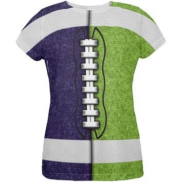Fantasy Football Team Navy and Electric Green All Over Womens T Shirt