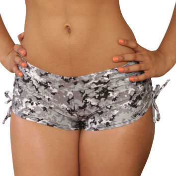 Cheeky Tie Side Digital Camouflage Shorts- Sassy Assy