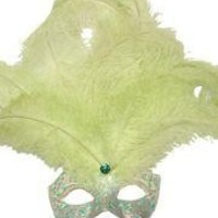 Venetian Masks: Light Green and Gold Mask with Ostrich and Capon Feathers