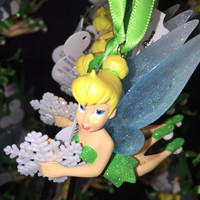 disney parks christmas tinker bell with snowflake glitter ornament new with tag