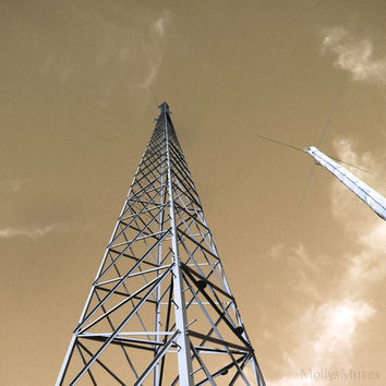 Industrial Fine Art Decor  Sepia Photograph Radio Tower