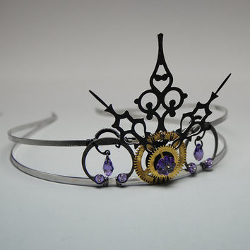 Steampunk tiara with tanzanite Swraovski crystals and vintage clock parts v2