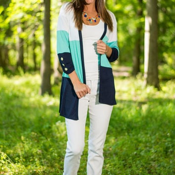 Swell Forever Cardigan, Mint-Navy