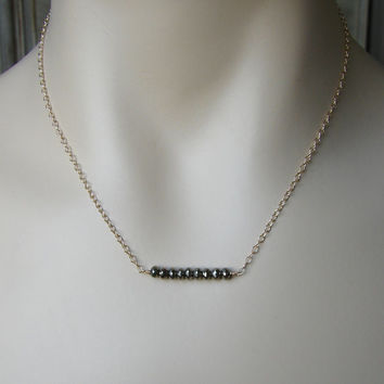 Pyrite and Gold Bar Necklace