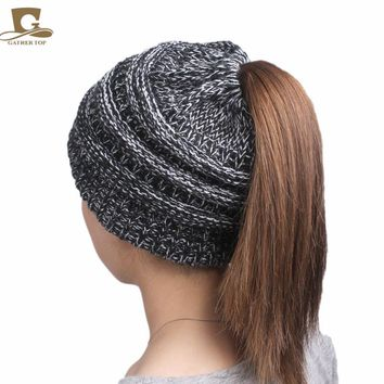 Pony Tail Beanie, Messy High Bun Ponytail Beanie