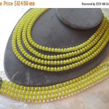 On Sale Laguna Signed Yellow Necklace Bracelet Set - Vintage Glass & Crystal Demi Parure - Rhinestone Clasp 1950's 1960's Rare Jewelry