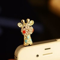 Big Mango Cute Crystal Rhinestone Giraffe Anti Dust Plug Stopper / Ear Cap / Cellphone Charms for Smartphones and Tablets ( Golden )