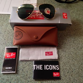 Cheap New Ray Ban 3025 001/58 Gold Aviator Sunglasses Green Polarized Lens 58mm-14mm outlet