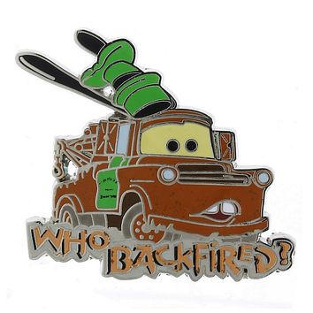 Disney Parks Cars Tow Mater Who Backfired ? Pin New with Card