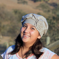 Tan Upcycled Sweater Hat / Tam in 100% Merino Wool with Shabby Flower