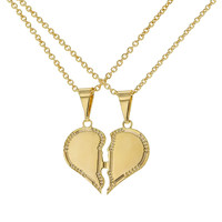 18k Gold Plated His Hers Love Heart Couple Sweetheart Pendant Necklace 19""