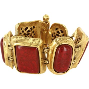 Vintage YSL Yves Saint Laurent Faux Coral Yellow Gold Tone Bracelet
