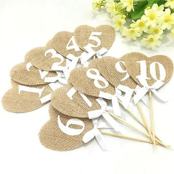 10 pieces Burlap Hearts Flags Wedding Table Numbers 1-10 Rustic Table Decoration Wedding Decoration  AA8067
