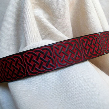 "Dog collar with Celtic design, leather, 1"" wide, red and black, hand tooled Celtic knots"