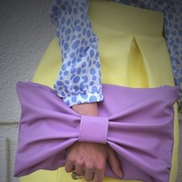 Lavender Leather Bow Clutch