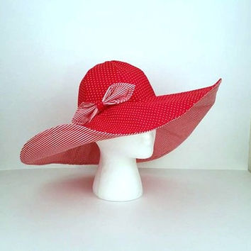 Red Hatter Hat,Kentucky Derby Hat, Church Hat, Wide Brim Hat, Sun Hat, Floppy Hat, Summer Hat, Woman's Hat