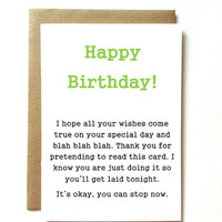 Sexy funny birthday card for boyfriend, husband, wife, or girlfriend. Thank you for pretending to read this card.