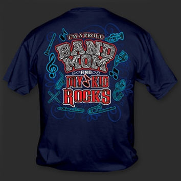 Sweet Thing Funny Proud Band Mom My Kid Rocks Navy Girlie Bright T-Shirt