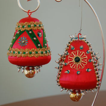 Pair Vintage Beaded Satin Christmas Ornaments, Red Green Gold Handmade Christmas Tree Decoration, Collectible, Bell, Home Decor