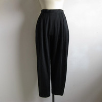 Vintage 80s Wool Jersey Pants Alfred SUNG black Wool Knit Trousers 6