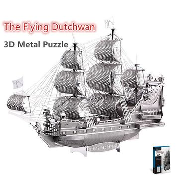 Piececool The Flying Dutchman 3D Laser Cutting DIY Metallic Boat Model Metal Earth 3D Metal Puzzle Educational Diy Jigsaws Gifts