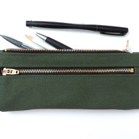 Canvas Pencil Case Double Zipper Pouch Green