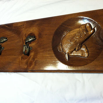 Bass Coat Rack - Entryway Coat Hooks - Large Mouth Bass - Rustic Wall Coat / Hat Hook - Fisherman Gift - Cabin Decor - Outdoorsman