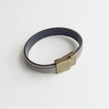 100% Suede Leather Cuff Chain Leather Cuff Chain Cuff Bracelet Handmade Bracelet Leather Jewelry Handmade Leather Goods