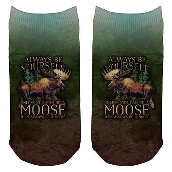 Always Be Yourself Unless Moose All Over Adult Ankle Socks