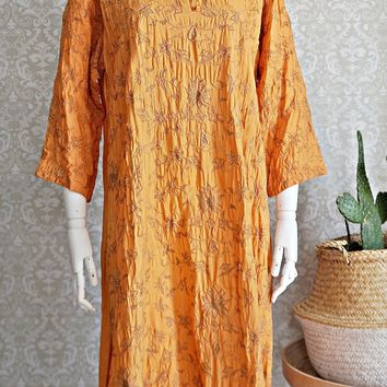 Vintage 1970s Floral Embroidery + Raw Silk Dress