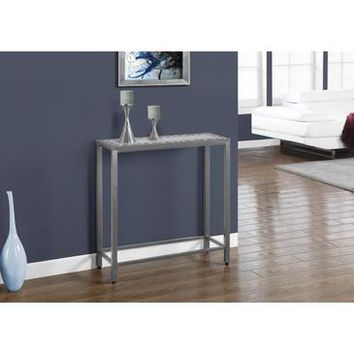Monarch Specialties Grey Blue Tile Top Hammered Silver Sofa Console Table I 3142