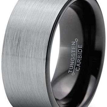 Harper Grey Black Tungsten Wedding Band Comfort Fit With Flat Cut Brushed - 9mm