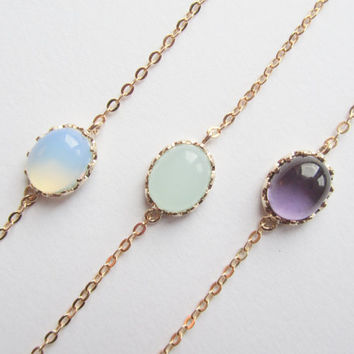 White opal, Light Jade, Amethyst bracelets-Color connector of your choice on a gold plated chain, Bridesmaids Bracelets
