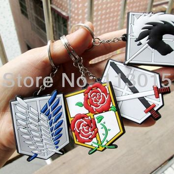 Cool Attack on Titan 4 pcs/lot no  Toy  Doll Survey Legion stationed / Miritary police / Training Corps Logo Keychains AT_90_11