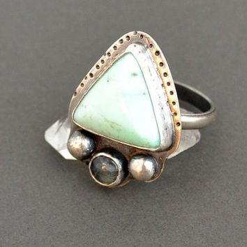 Chrysoprase and Labradorite Sterling Silver Ring, Boho Ring, Lotus Flower, Bohemian, Trendy Jewelry, Artisan Ring, Rustic, Statement Ring