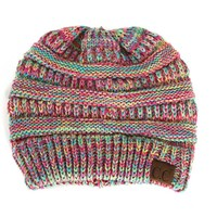 CC Beanie Cable Knit in Candy Multi Color YJ816-CANDYMULTI