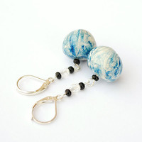 Lightweight blue dangle earrings with leverback hooks. Unique handmade boho jewelry. Girls gift ideas.