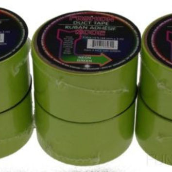 "Rolls Neon Green Duct Tape 2""x10' Lot 6 USA Fashion Mode Craft Decorating Repair"