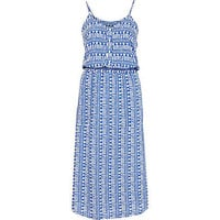 Blue tribal print button down midi dress - midi dresses - dresses - women