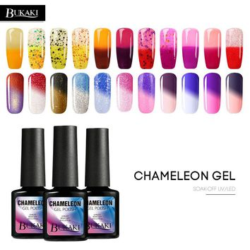 BUKAKI Temperature Change Nail Polish UV LED Nail Lamp Nail Gel Polish Soak Off Color Changing Gel Lacquer Thermo Nail Varnish