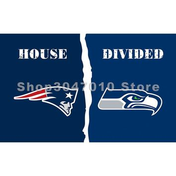 Seattle Seahawks banner house divided New England Patriots flag 3x5ft digital printed decoration banner flag