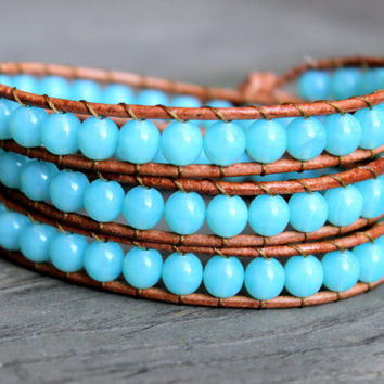 Beaded Leather Wrap Bracelet 3 Wrap with Aqua Turquoise Blue Beads on Natural Tan Leather Spring Summer Collection Beachy Ocean Bracelet