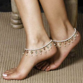 New Arrival Cute Ladies Stylish Gift Sexy Jewelry Shiny Accessory Summer Hot Sale Crystal Stretch Anklet [11156945876]