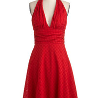 ModCloth Pinup Mid-length Halter A-line Picnic in Paradise Dress