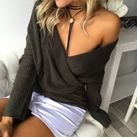 Off Shoulder  Top Long Sleeve  Sweaters Pullover