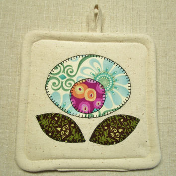 Pretty Posey Pot Holder - Single - Insulated - Applique Flower, Pink, Blue, Green