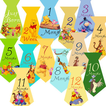 14 Winnie the Pooh Ties Piglet Owl Tigger Roo Kanga Eeyore Christopher Robin Baby Boy Monthly Milestone Onesuit Stickers Newborn Shower Gift
